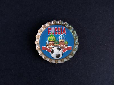 Пробка с магнитом «Russia», храм, мяч, синий фон