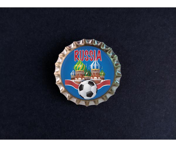 Магнит на холодильник Пробка с магнитом «Russia», храм, мяч, синий фон