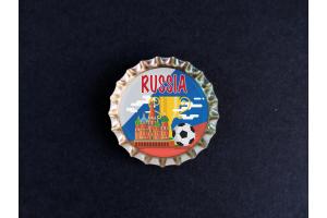 Пробка магнит сувенирная «Russia», храм, мяч, кубок, фон флаг