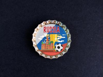 Пробка с магнитом «Russia», храм, мяч, кубок, фон флаг