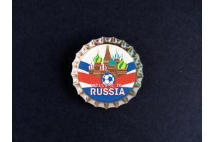 Пробка магнит сувенирная «Russia», мяч, храм, фон ленты