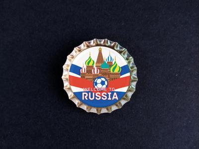 Пробка с магнитом «Russia», мяч, храм, фон ленты