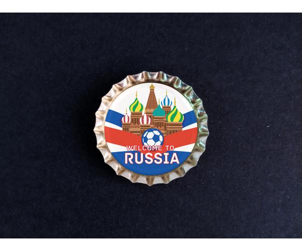 Магнит на холодильник Пробка с магнитом «Russia», мяч, храм, фон ленты
