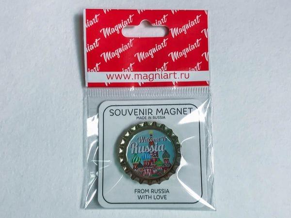 Пробка магнит сувенирная «Василия Блаженного» иллюстрация, Москва
