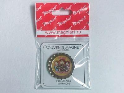Пробка с магнитом «Матрешки» желтый фон