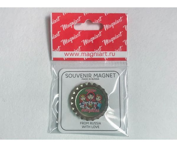 Магнит на холодильник Пробка с магнитом «Матрешки» зеленый фон