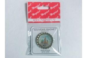 Пробка магнит сувенирная «Василия Блаженного» фото днем, Москва