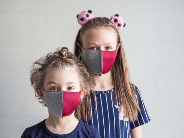 Детская защитная маска цвет «Бордово-серый»