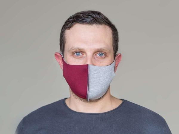 Взрослая защитная маска цвет «Бордово-серый»