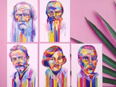 Набор открыток «Писатели» 5шт