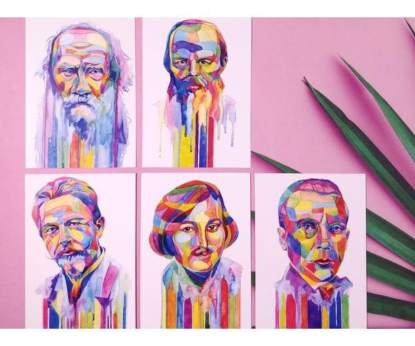 Почтовые открытки знаменитые писатели, в наборе