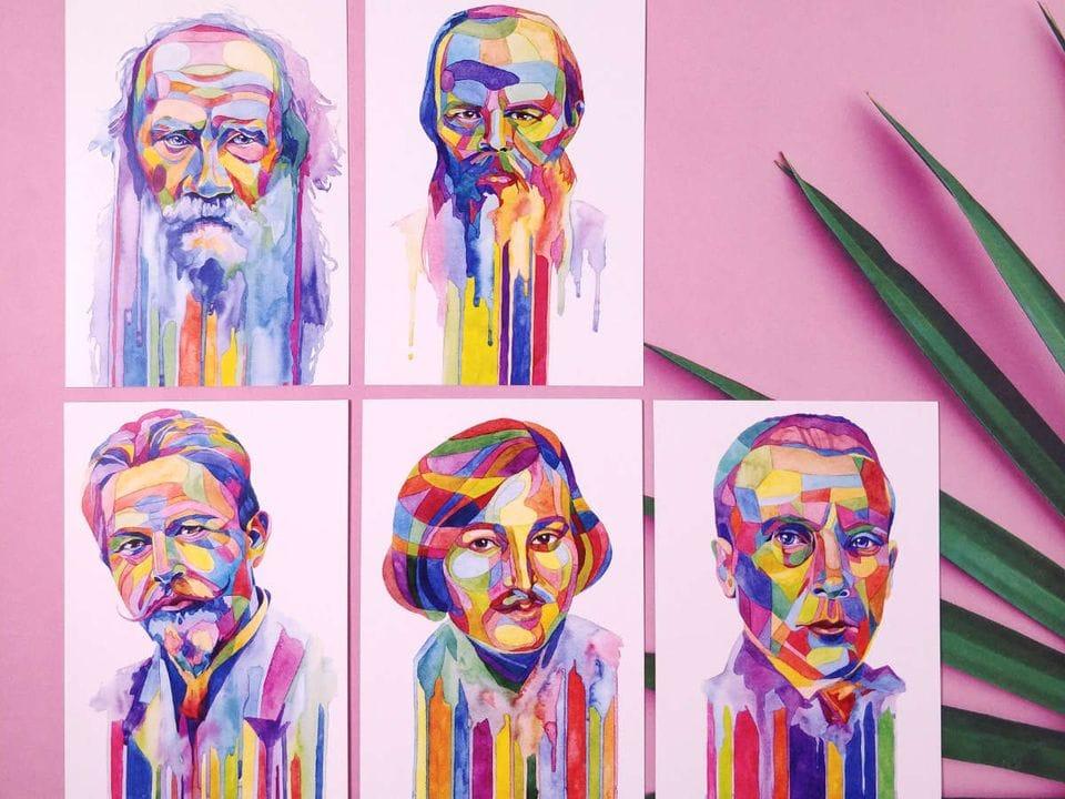 Почтовые открытки знаменитые писатели, в наборе «Писатели»