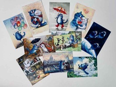Набор открыток «Синие коты» И. Зенюк 10шт