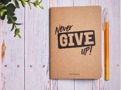 Блокнот а6 «Never give up», крафт обложка