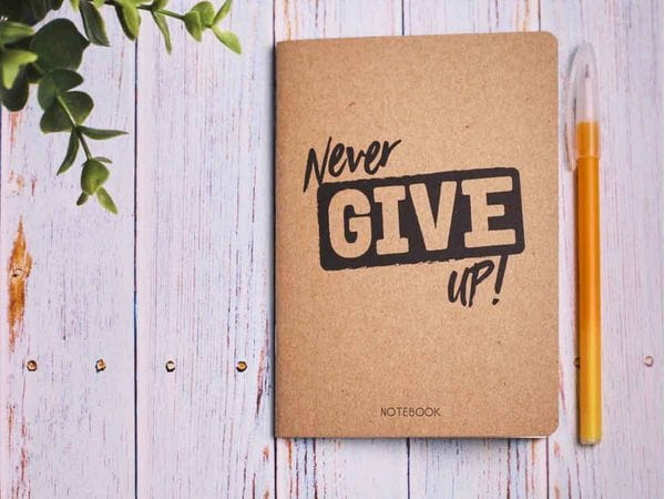 Блокнот а6 «Never give up», крафт обложка, 24л