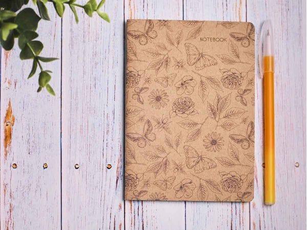 Блокнот а6 «Ботаника 4», крафт обложка