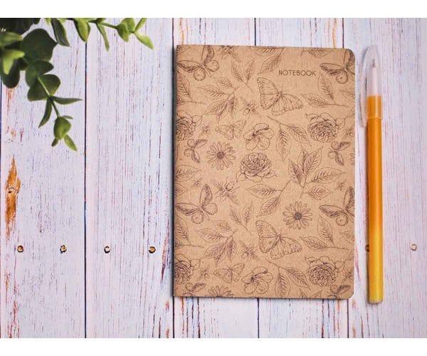 Блокнот а6 «Ботаника 4», крафт обложка, кремовый блок для записей, 24 листа