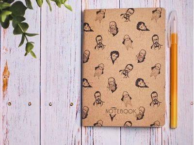 Блокнот а6 «Писатели», крафт обложка