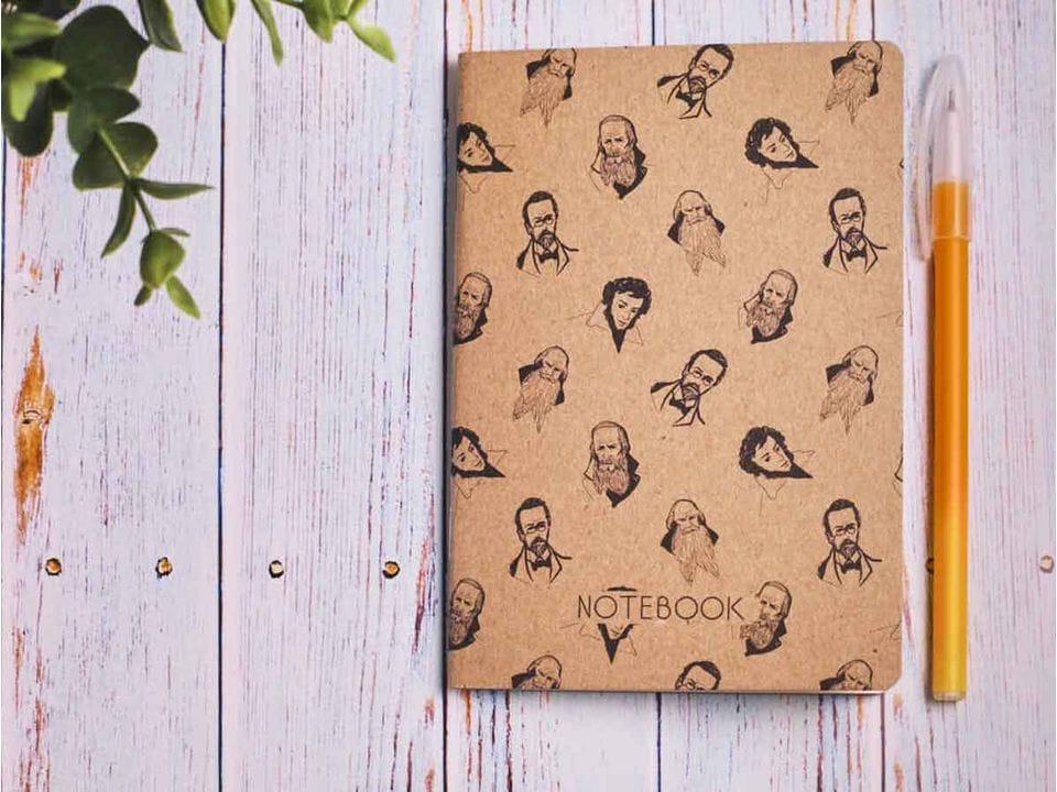 Блокнот а6 «Писатели», крафт обложка, кремовый блок для записей, 24 листа