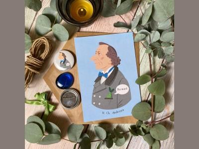 Открытка почтовая портрет Ханса Кристиана Андерсена
