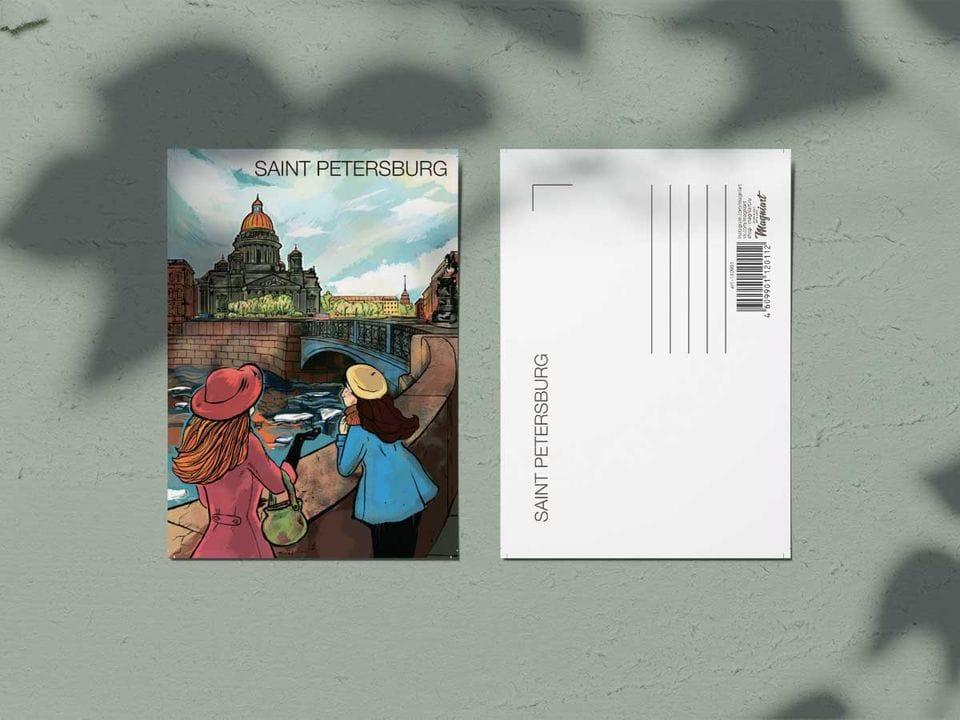 Почтовая открытка из коллекции Романтический Петербург «Исаакиевский собор»