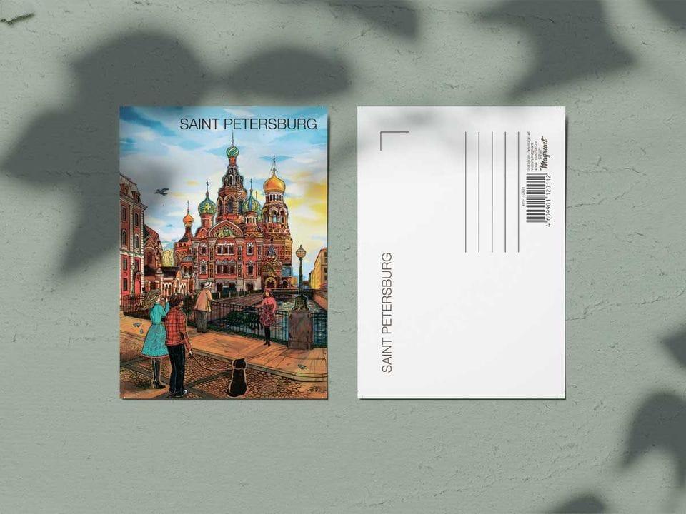 Почтовая открытка из коллекции Романтический Петербург «Храм Спас на Крови»