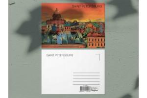 Почтовая открытка «Крыши Петербурга, вид на Исаакиевский собор на закате», Петербург