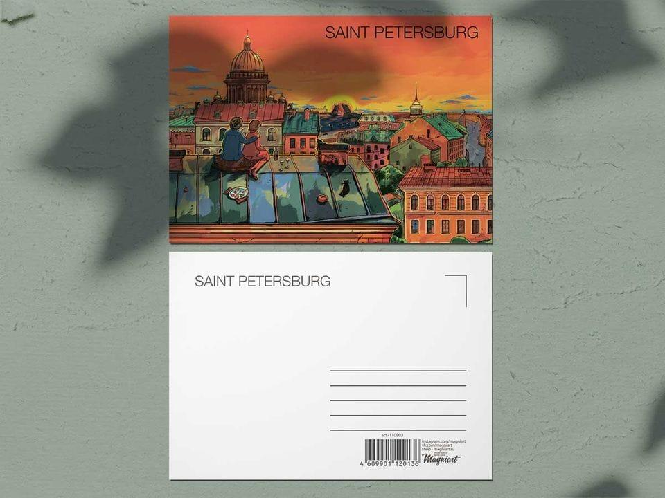 Почтовая открытка из коллекции Романтический Петербург «Крыши Петербурга, вид на Исаакиевский собор»