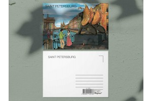 Почтовая открытка «Банковский мост, вид на Казанский собор и Дом Зингера», Петербург
