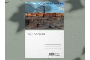 Почтовая открытка «Александрийская колонна, Эрмитаж и Дворцовая площадь», Петербург