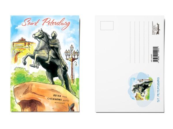 Почтовая открытка «Медный всадник», Петербург, Акварель