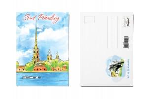 Почтовая открытка «Петропавловская крепость», Петербург, Акварель