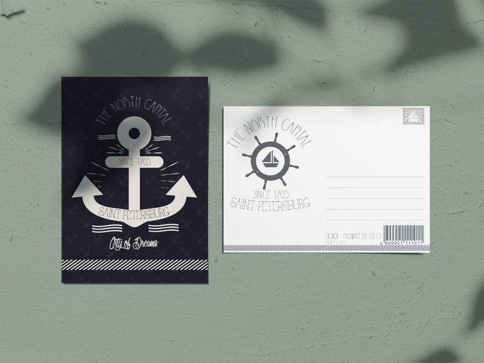 Почтовая открытка из коллекции минимализм «Якорь из Петербурга»