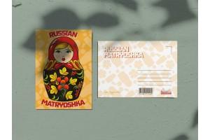Почтовая открытка «Матрешка оранжевая»