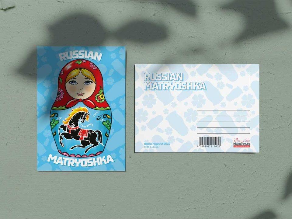 Почтовая открытка из коллекции Русские мотивы «Матрешка голубая»