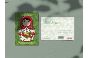 Почтовая открытка «Матрешка зеленая»