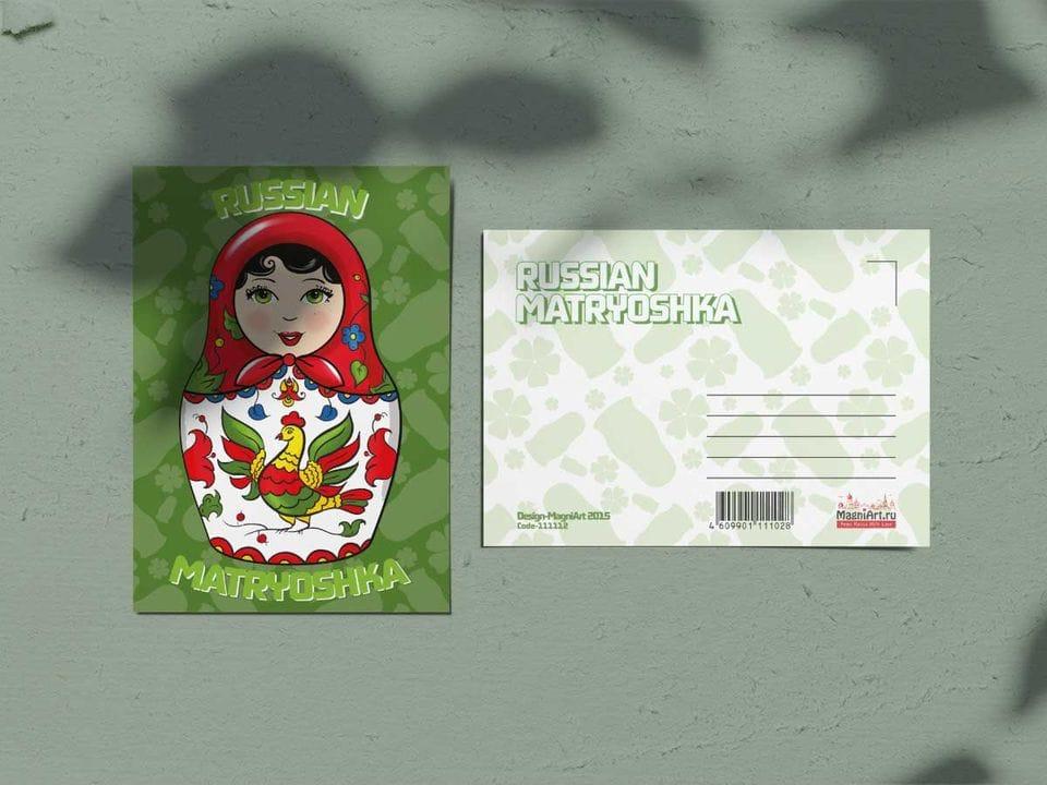 Почтовая открытка из коллекции Русские мотивы «Матрешка зеленая»