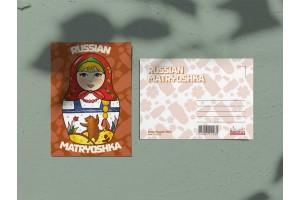 Почтовая открытка «Матрешка красная»