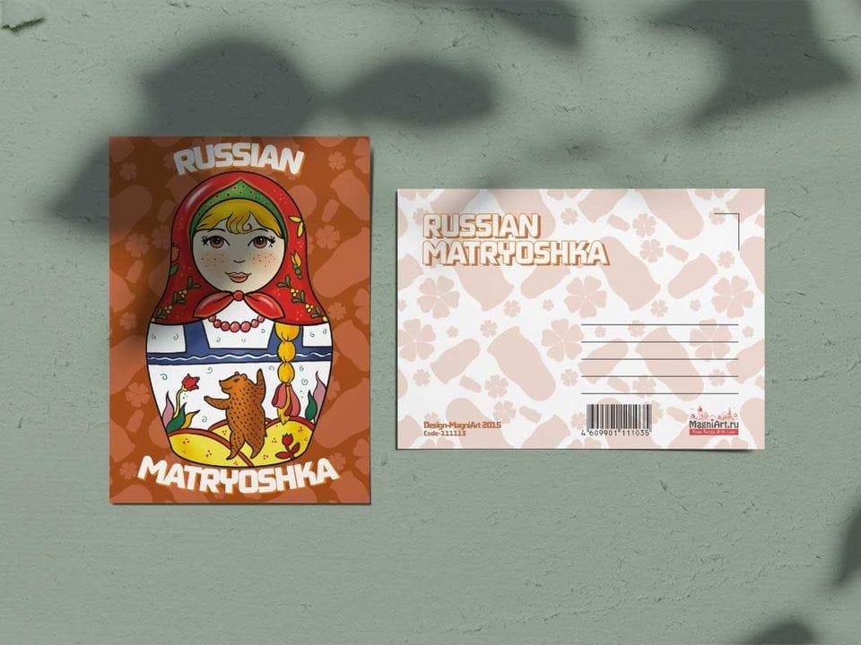 Почтовая открытка из коллекции Русские мотивы «Матрешка красная»