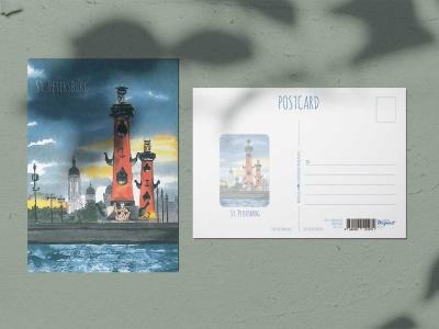Почтовая открытка «Ростральные колонны», акварель, Петербург