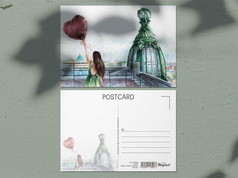 Почтовая открыткаиз акварельной коллекции «Крыша Дома Книги» Петербург