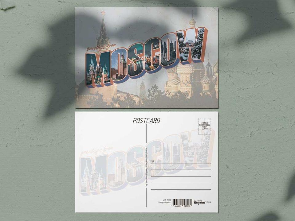 Почтовая открытка из коллекции Москва леттеринг в ретро стиле «Кремль и Храм Василия Блаженного»