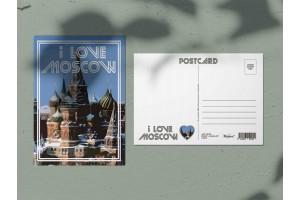 Почтовая открытка «I love Moscow, Храм Василия Блаженного зимой», Москва