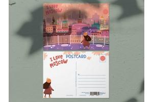 Почтовая открытка «I love Moscow, панорама с крыши Детского мира», Москва