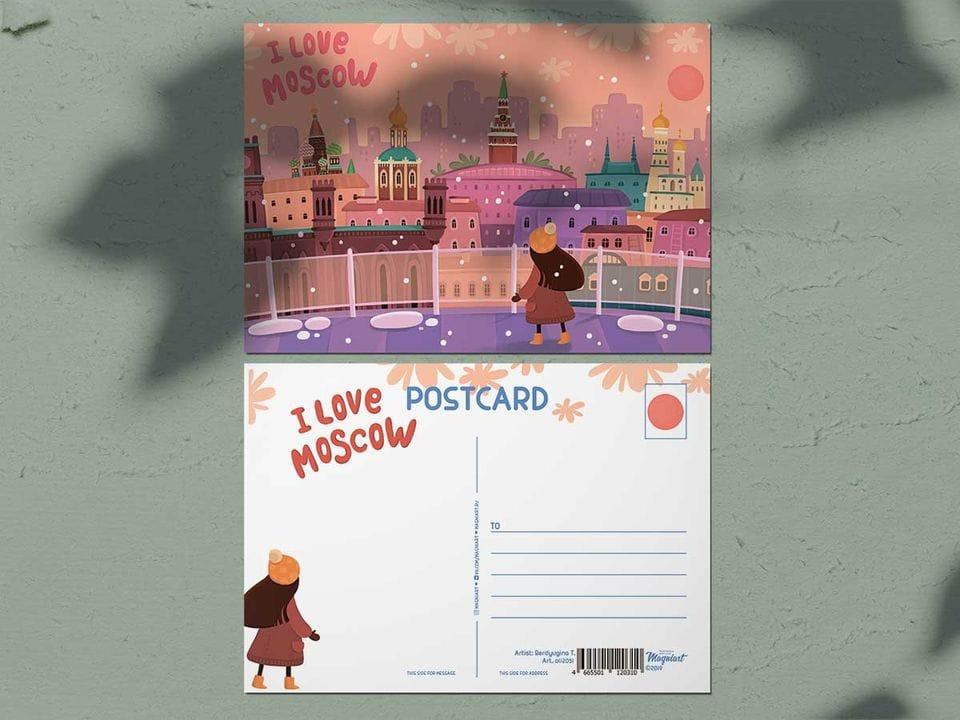 Почтовая открытка из коллекции Москва «Люблю Москву, Панорама города с крыши Детского мира»