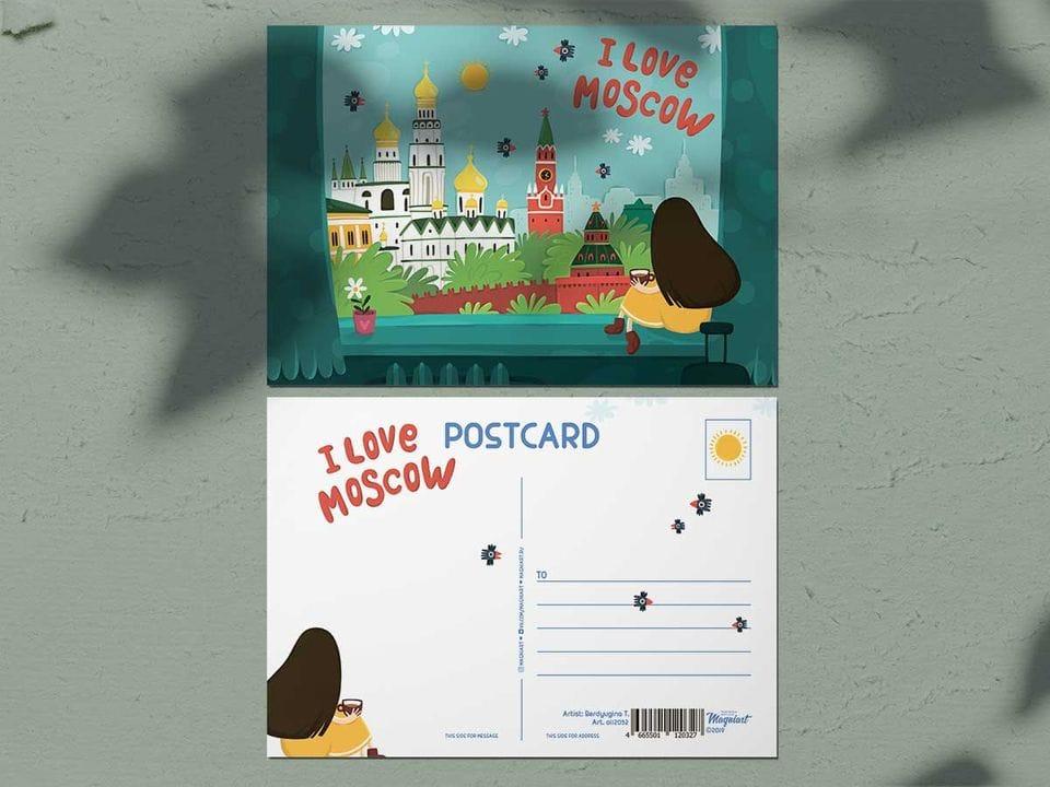 Почтовая открытка из коллекции Москва «Люблю Москву - вид из окна отеля»
