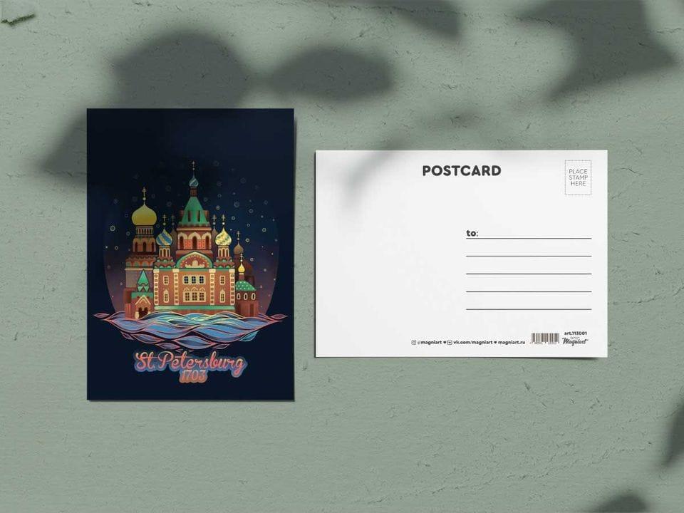 Почтовая открытка из коллекции другой Петербург «Спас ночью» для посткроссинга