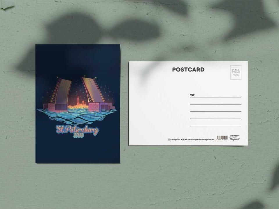 Открытка почтовая из коллекции «Другой Петербург» Мост ночью.