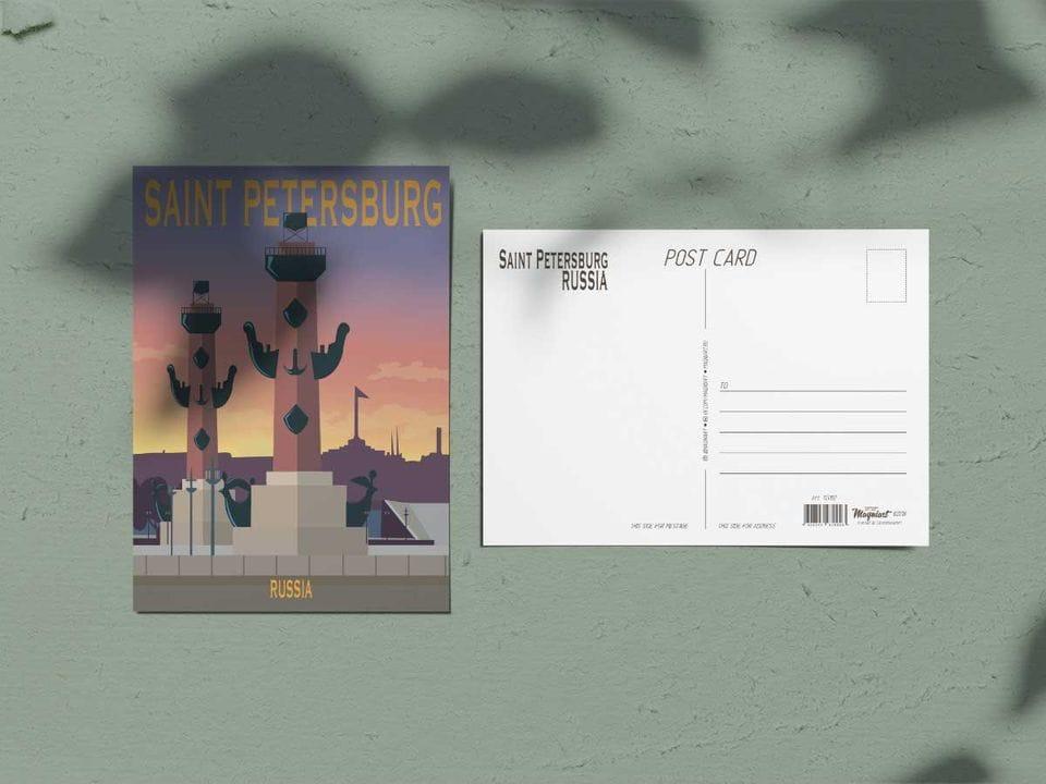 Почтовая открытка из коллекции другой Петербург «Ростральные колонны»