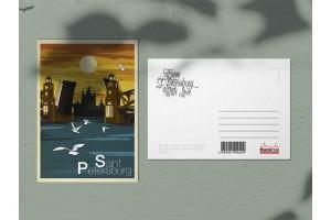 Почтовая открытка «Смольный собор. Мост», Петербург
